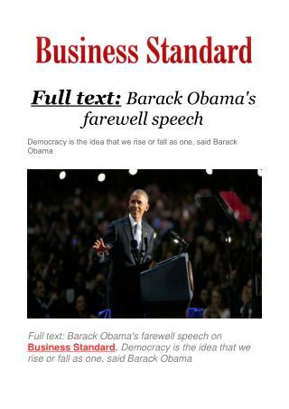Full text: Barack Obama's farewell speech
