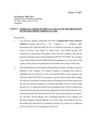FIA Complaint for Cyber Crime and Evidence Dossier against Syed Tayyab Ali Shah and Lt. Col Saqib Mumtaz