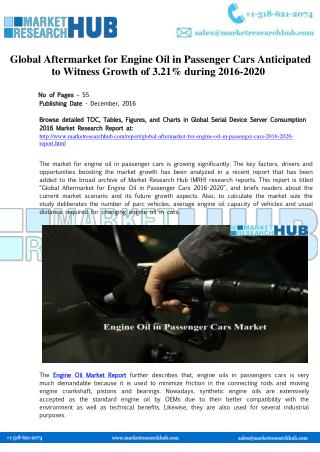 Engine Oil in Passenger Cars Market Research Report 2020