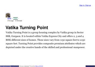 Vatika turning point gurgaon sec 88
