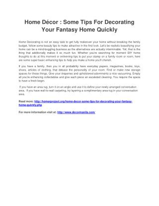Home Décor : Some Tips For Decorating Your Fantasy Home Quickly