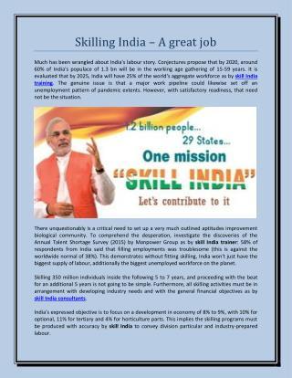 Skilling india – a great job