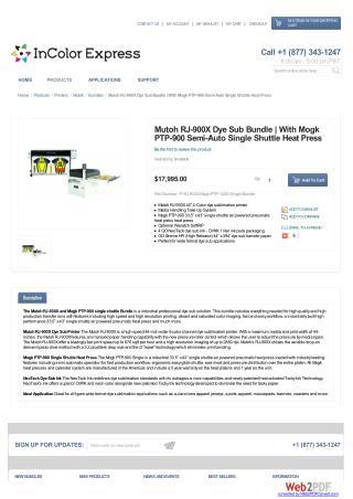 Mutoh RJ-900X Dye Sub Bundle | With Mogk PTP-900 Semi-Auto Single Shuttle Heat Press