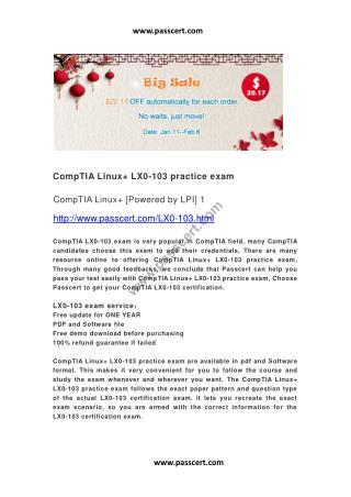 CompTIA Linux  LX0-103 practice exam