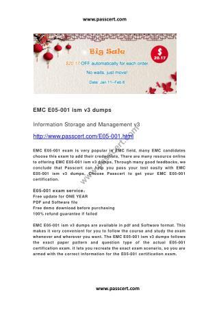 EMC E05-001 ism v3 dumps