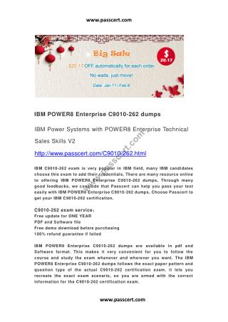 IBM POWER8 Enterprise C9010-262 dumps