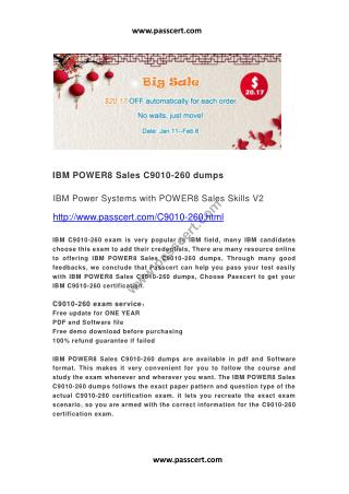 IBM POWER8 Sales C9010-260 dumps
