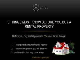 3 Things Must Know Before You Buy a Rental Property