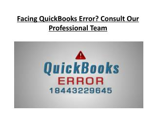 Facing QuickBooks Error? Consult Our Professional Team