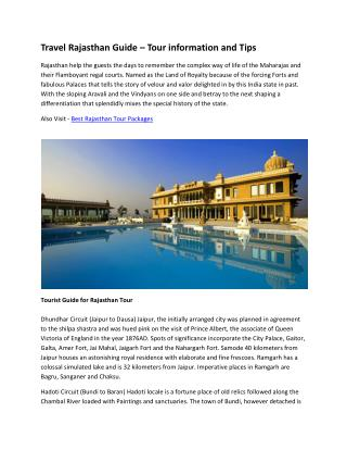 Travel Rajasthan Guide – Tour information and Tips