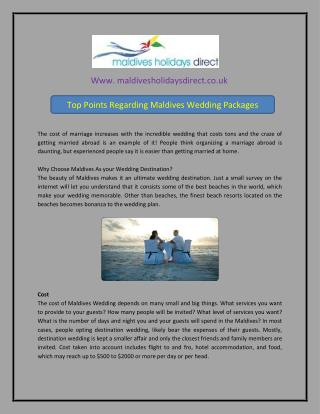 Top Points Regarding Maldives Wedding Packages