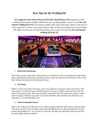 Best Tips for the Wedding DJ