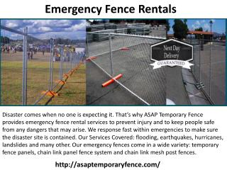Emergency construction fence rental