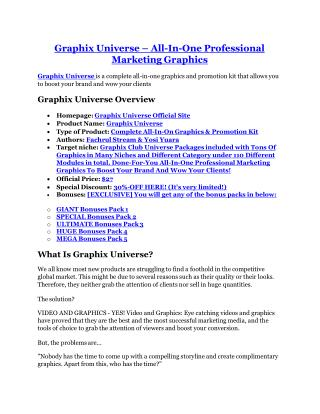 Graphix Universe reviews and bonuses Graphix Universe