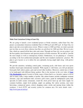 Make Your Luxurious Living at Gaur City