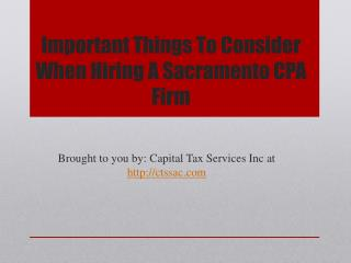 Important things to consider when hiring a sacramento cpa firm