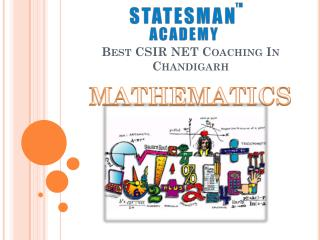 Join Statesman Academy For CSIR UGC Net Maths Coaching in Chandigarh