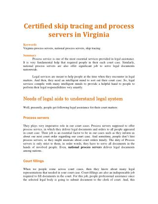 Certified skip tracing and process servers in Virginia