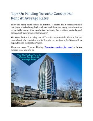 Tips on Finding Toronto Condos for Rent at Average Rates