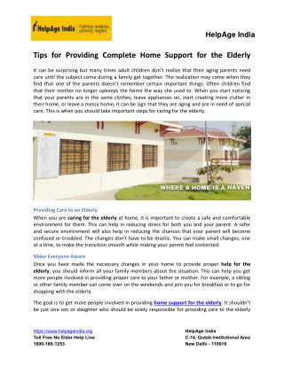 Tips for Providing Complete Home Support for the Elderly