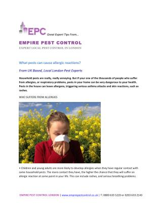 What pests can cause allergic reactions?