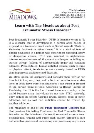 Learn with The Meadows about Post Traumatic Stress Disorder?