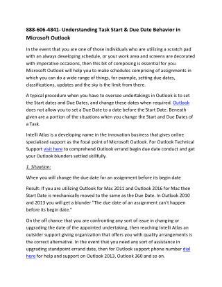 888-606-4841- Understanding Task Start & Due Date Behavior in Microsoft Outlook