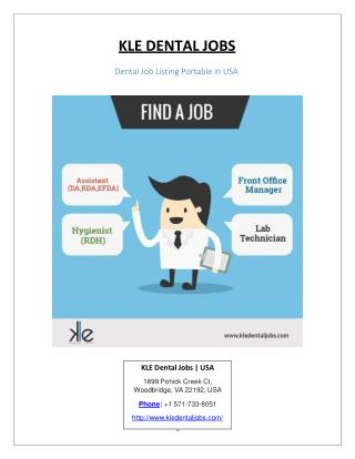 Kle dental jobs : Best dental Job Listing Portal in USA