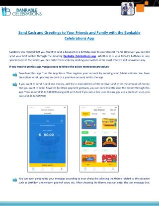 Bankable Celebrations App