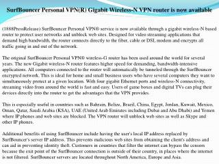 surfbouncer personal vpn(r) gigabit wireless-n vpn router is