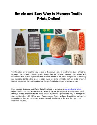 Simple and Easy Way to Manage Textile Prints Online!