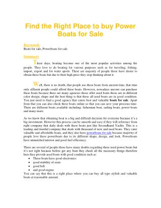 Find the Right Place to buy Power Boats for Sale