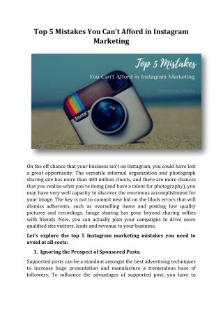 Top 5 Mistakes You Can't Afford in Instagram Marketing
