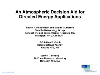 An Atmospheric Decision Aid for Directed Energy Applications