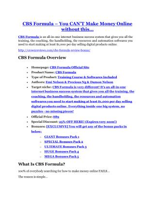 CBS Formula Review and CBS Formula (EXCLUSIVE) bonuses pack