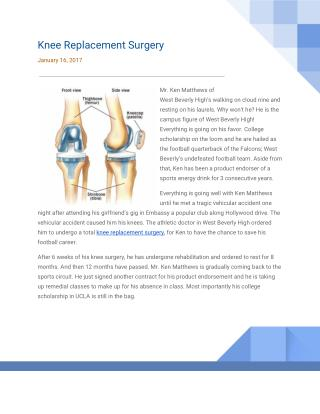 Patients Comment on Knee Replacement Surgery