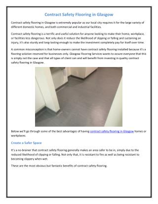 Contract Safety Flooring in Glasgow