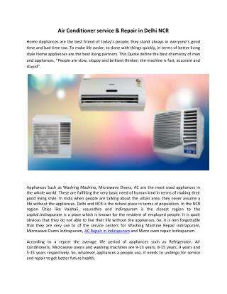 Air Conditioner service & Repair in Delhi NCR