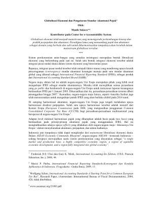 Globalisasi Ekonomi dan Pengaturan Standar Akuntansi Pajak