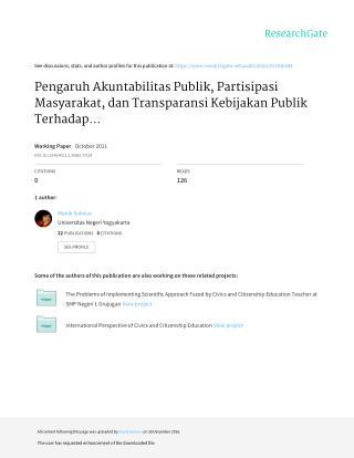 Pengaruh Akuntabilitas Publik, Partisipasi Masyarakat, dan Transparansi Kebijakan Publik Terhadap Hubungan Antara Penget