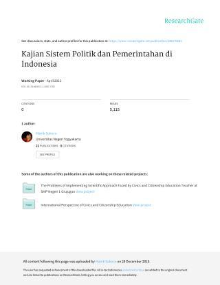 Kajian Sistem Politik dan Pemerintahan di Indonesia