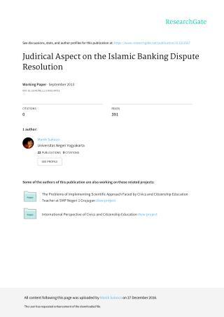 Judirical Aspect on the Islamic Banking Dispute Resolution