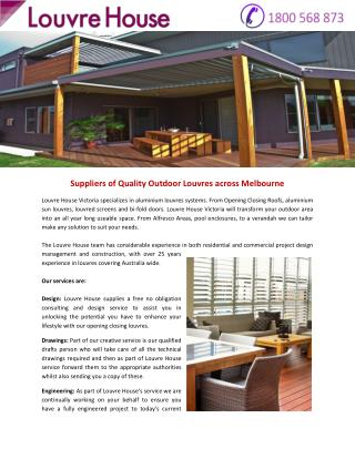 Suppliers of Quality Outdoor Louvres across Melbourne