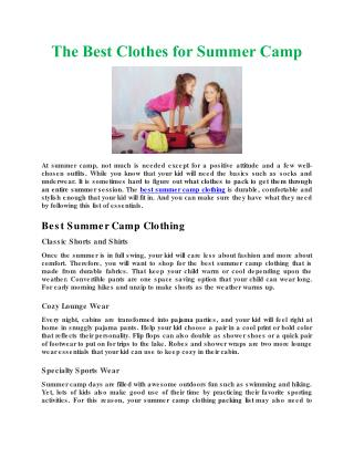 The Best Clothes for Summer Camp