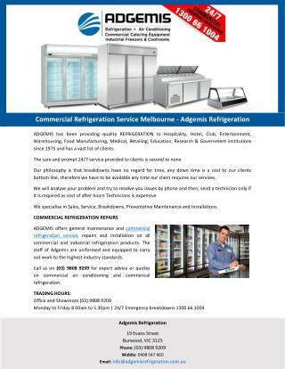 Commercial Refrigeration Service Melbourne - Adgemis Refrigeration