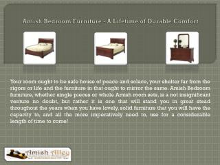 Amish Bedroom Furniture - A Lifetime of Durable Comfort