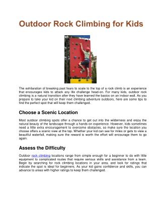 Outdoor Rock Climbing for Kids