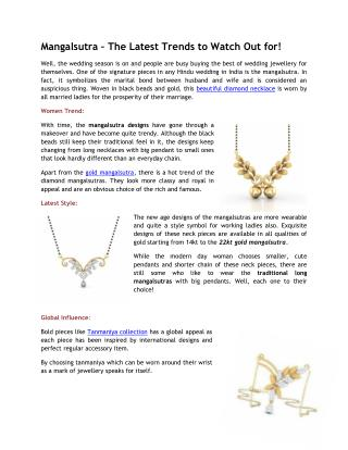 Exclusive Styles of Mangalsutra Designs for Your Wedding Day