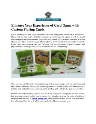 The Ace Card Company | custom Playing cards