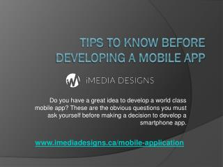 Tips to know before Developing a Mobile App